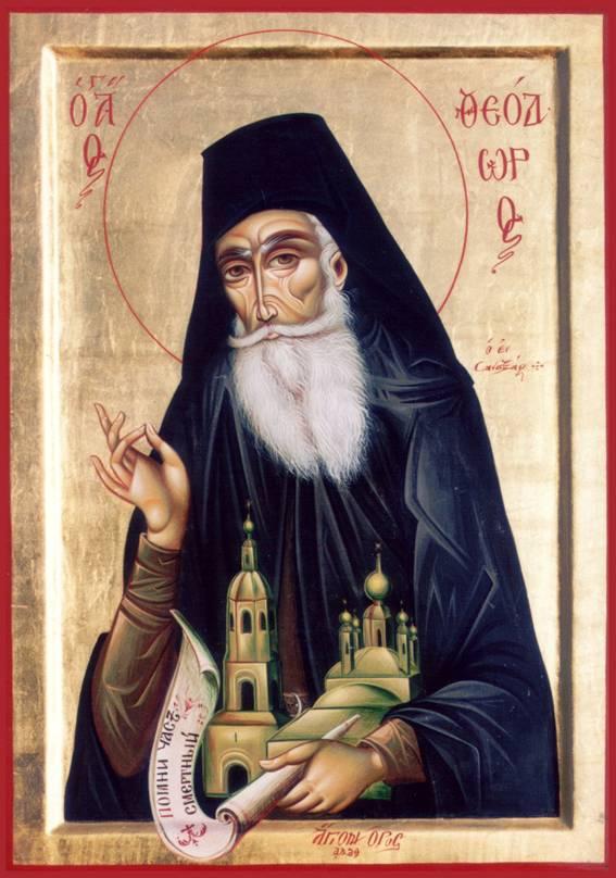 Икона преподобного Феодора, написанная на Святой Горе Афон.