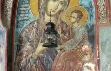 Место исходного положения и вид настенной иконы Богородицы и Спасителя, переменившей вид и ставшей Отрадой и Утешением